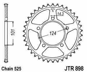JT Kettenrad Stahl, Teilung 525, 898