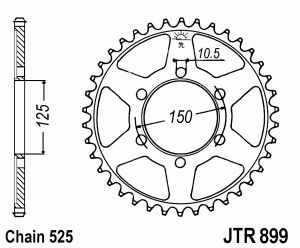 JT Kettenrad Stahl, Teilung 525, 899