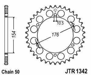 JT Kettenrad Stahl, Teilung 530, 1342,43