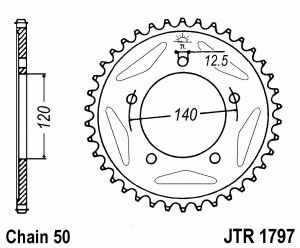 JT Kettenrad Stahl, Teilung 530, 1797,41