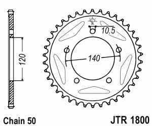 JT Kettenrad Stahl, Teilung 530, 1800