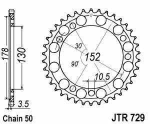 JT Kettenrad Stahl, Teilung 530, 729,46