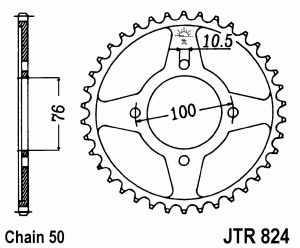 JT Kettenrad Stahl, Teilung 530, 824,46