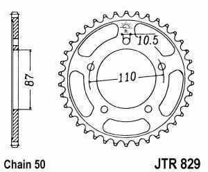 JT Kettenrad Stahl, Teilung 530, 829