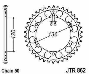 JT Kettenrad Stahl, Teilung 530, 862
