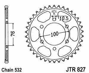 JT Kettenrad Stahl, Teilung 532, 827