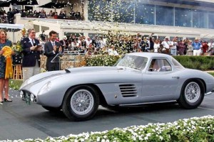 Jon Shirley wins the Best of Show at the Concours d'Elegance with his 1954 Ferrari 375 MM Scaglietti Coupe in Pebble Beach