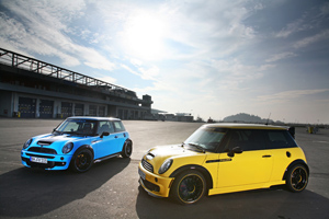 Sunflower Yellow and Smurf Blue CoverEFX Mini Coopers