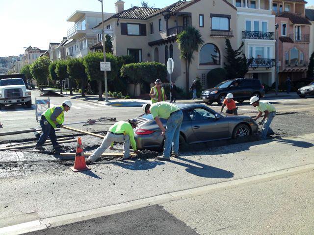Friday Fail: The Porsche 911 Stuck in Cement