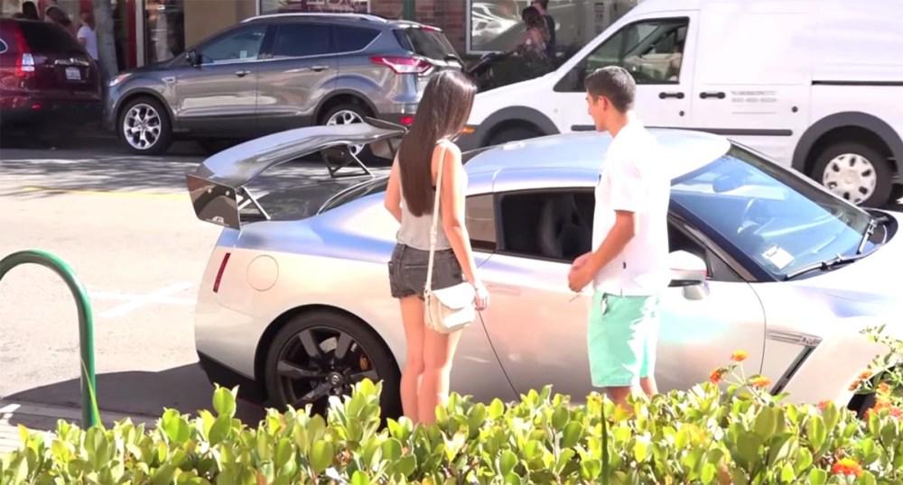 Kids Picking Up Girls Nissan GT-R