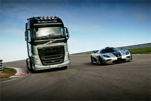 Koenigsegg One:1 vs Volvo Trucks