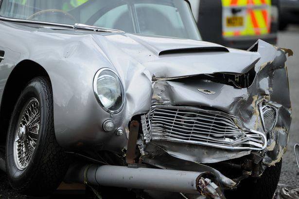 Aston Martin DB5 crash photographed by Jon Baxter / MEN Media