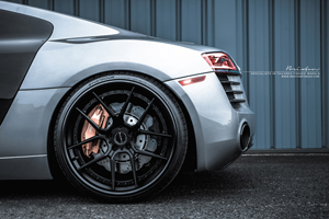 Brixton Forged CM5 Targa Series forged wheels on Silver Audi R8 V10