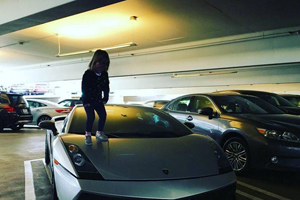 Jaxin Hall Kid on Lamborghini Gallardo
