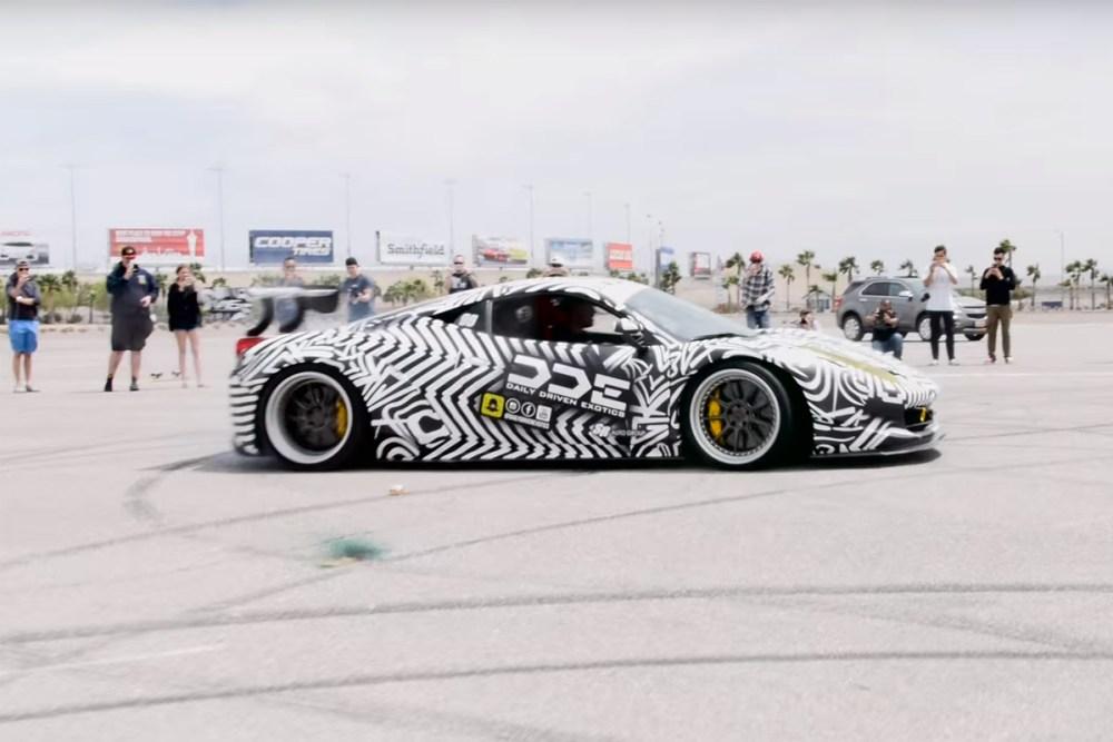 GoldRush Rally Zebra Ferrari 458 Italia Burnouts