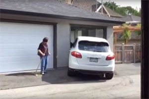 Friday FAIL: Porsche Cayenne Stuck in Garage