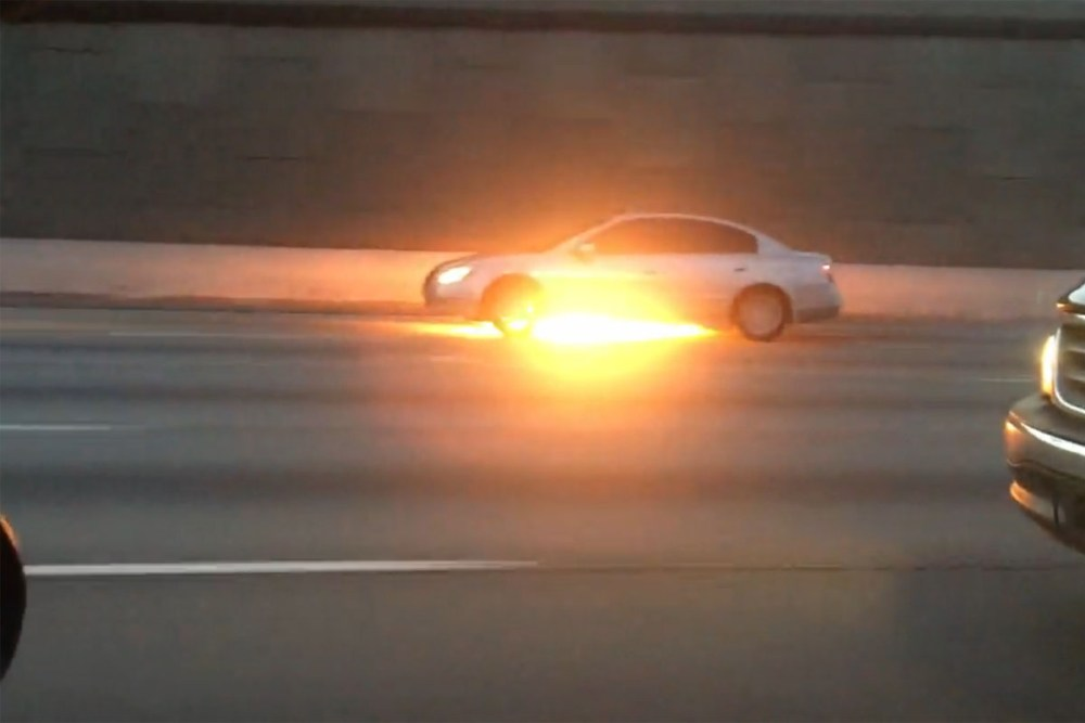Car Fire in Traffic