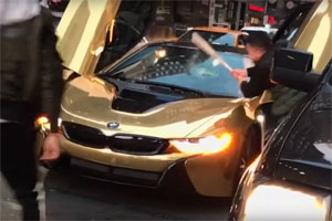 BMW i8 Hit with Bat