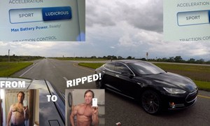 Man gets Six-Pack Abs while Leaning Forward in Tesla Model S P90D during 'Ludicrous' Mode Acceleration