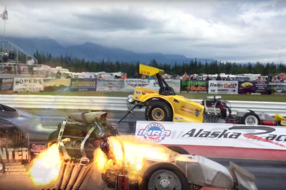 Close Call Drag Race Explosion