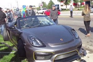 Friday FAIL Porsche Boxster Spyder Crashes into Crowd