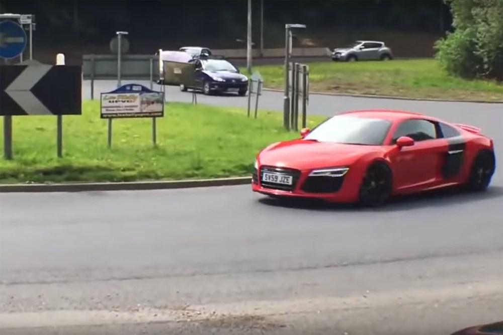 Audi R8 Crashes Leaving Car Show