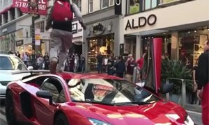Guy Jumps on Lamborghini Aventador SV
