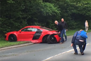 Audi R8 Crashes Leaving Car Show