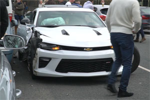 Friday FAIL Camaro Crashes Leaving Car Show
