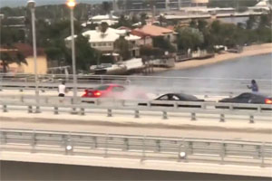 Friday FAIL Ford Mustang Driver Shurts down Bridge