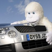 Skoda Yeti being hugged by a real Yeti