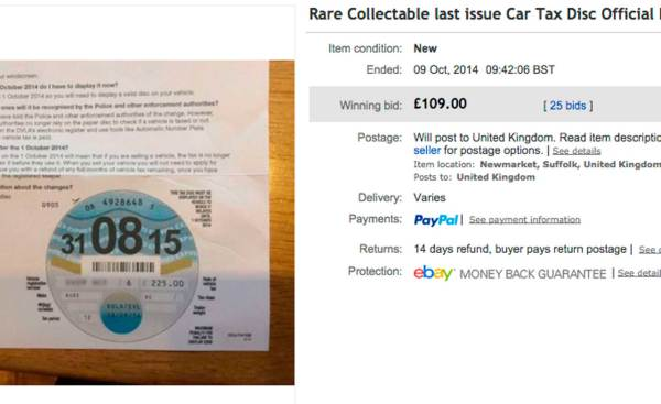 2015 tax discs selling for thousands online Motoring