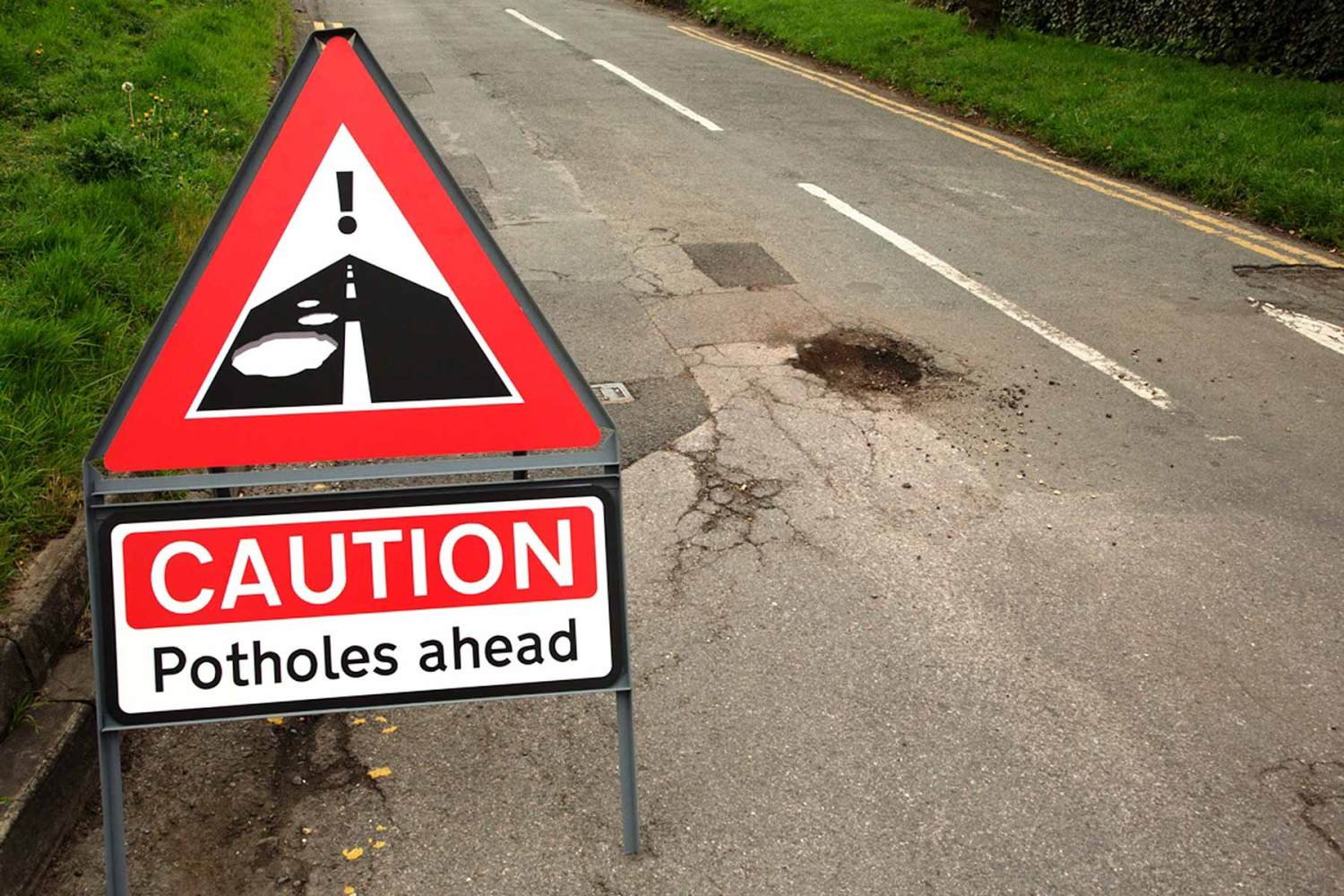 Potholes warning sign