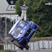 A Jaguar F-Pace has fallen over at Goodwood Festival of Speed