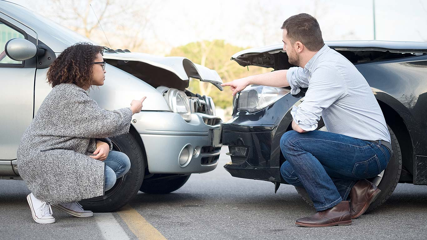 Male female car crash