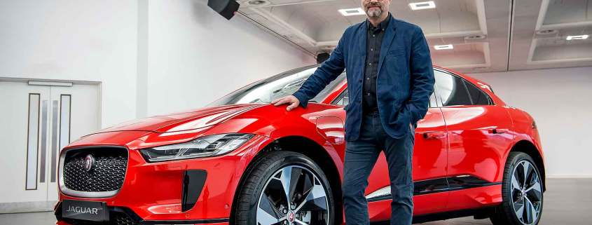 Robert Llewellyn with a Jaguar I-Pace