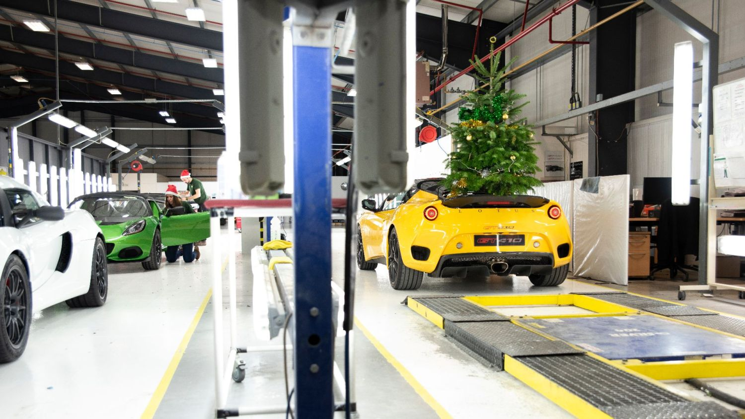 #DriftmasEvora inside the factory alongside a selection of Lotus cars being built at its Hethel, UK site