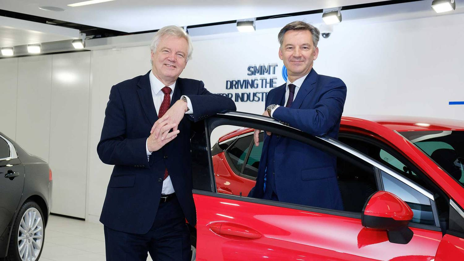 David Davis and SMMT chief executive Mike Hawes