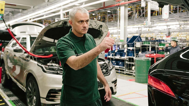 Jose Mourinho visits a Jaguar Land Rover car production line