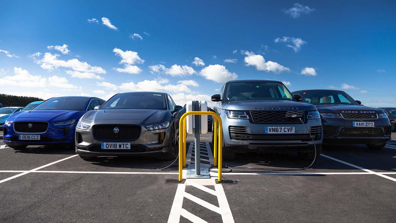 Jaguar I-Pace and Range Rover Sport charging at Gaydon