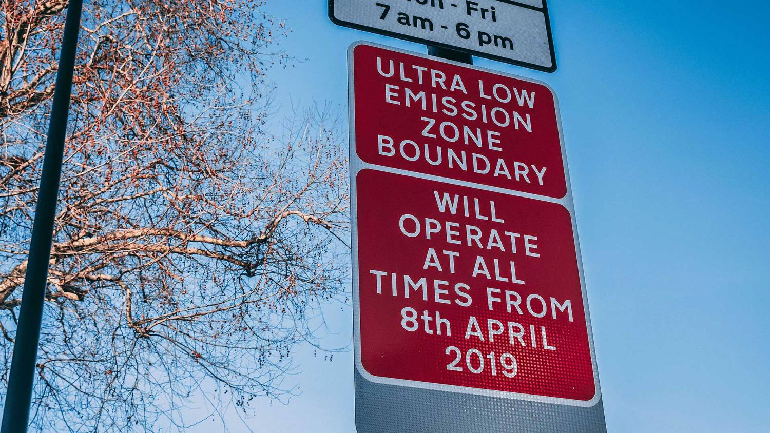 London Ultra Low Emission Zone boundary sign