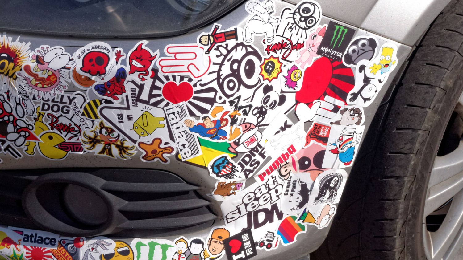 Most stickers on a car