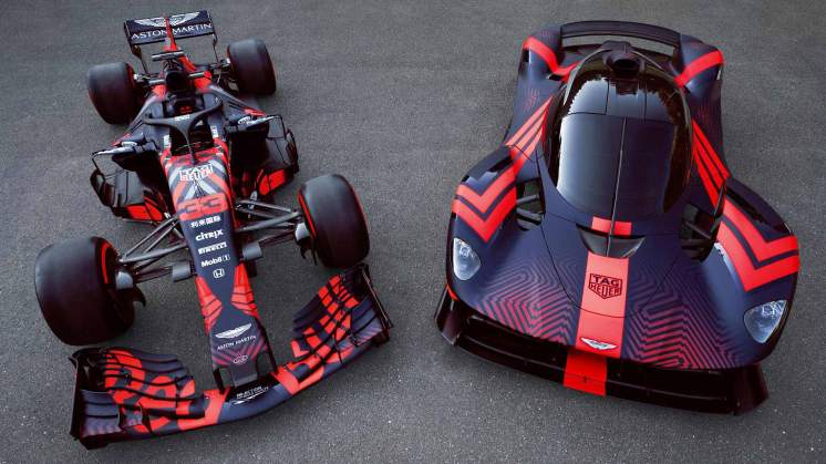 Aston Martin Valkyrie and Red Bull Racing F1 car