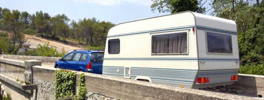 Peugeot towing a caravan