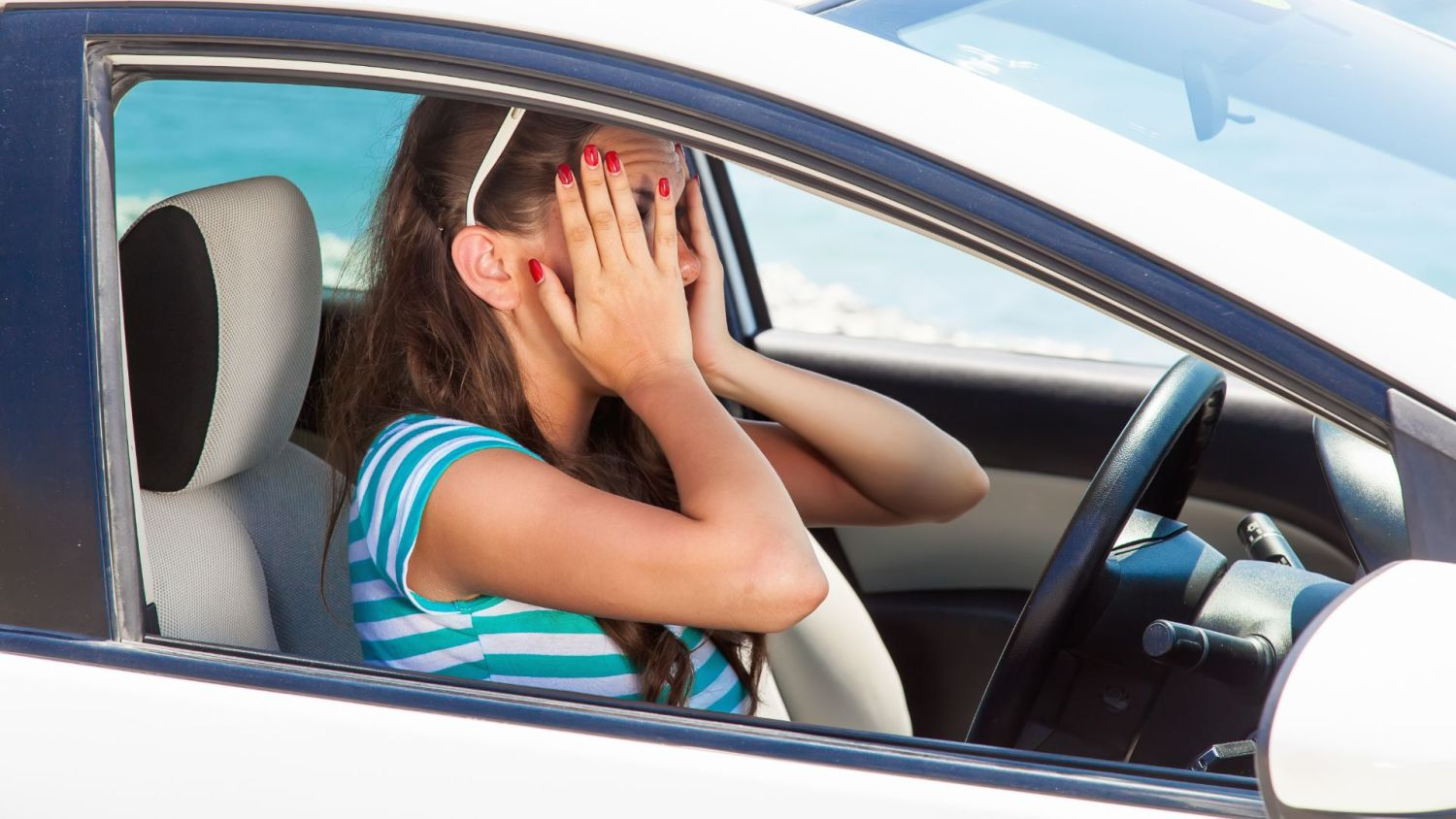 Nervous young drivers