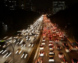 Car light trails are pictured as traffic jam along a main road in Sao Paulo