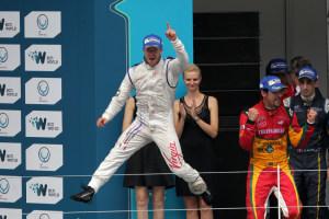 Sam Bird celebrates his first win in Formula E