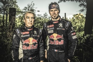Cyril Despres and Gilles Picard pose for a portrait at the finish line on stage 12 of Rally Dakar 2015 from Termas Rio Hondo to Rosario Argentina on January 16th, 2015