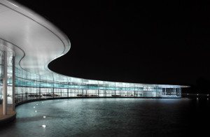 Outside the McLaren Technology Centre at night
