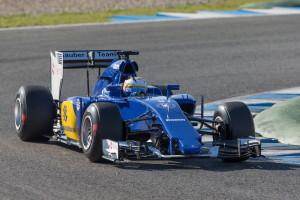 Marcus Ericsson i sin Sauber C34 under första testdagen i Jerez
